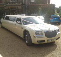 Stretched White Limousine Chrysler 300c, limo hire in Bristol, Bath, Avon and the South West