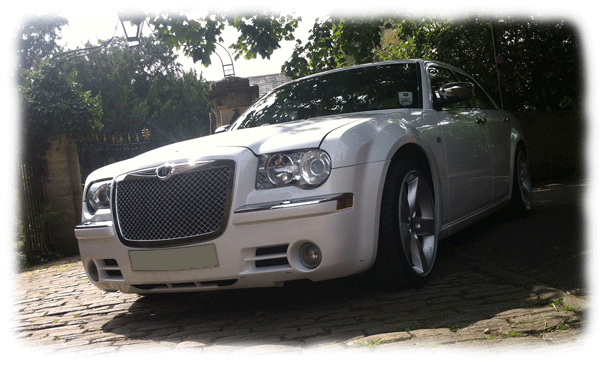 White Chrysler 300c Limousines for hire in Bristol, Bath, Avon and the South West
