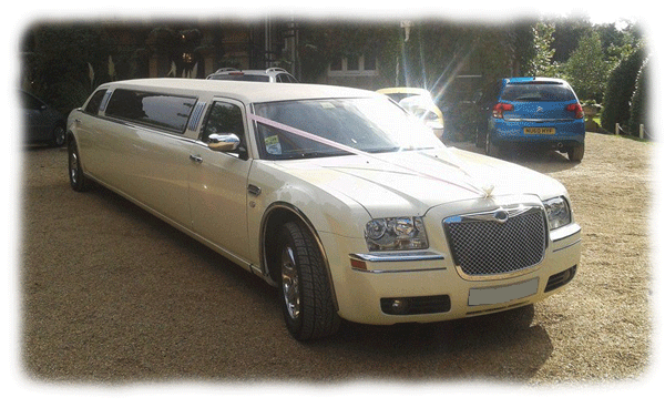 Stretched Ivory Chrysler 300c Limousines for hire in Bristol, Bath, Avon and the South West